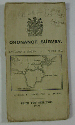 1911 Old OS Ordnance Survey One-inch Third Edtiion Map 152 Falmouth & Lizard Pnt