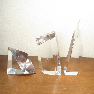 Set of 3 Lucite Acrylic Geometric Sculptures Art Mid Century Modern