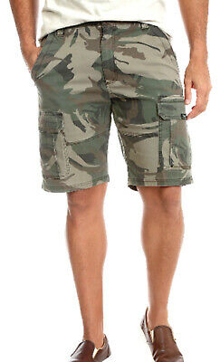 Mens Wrangler Army Camo Cargo Combat Relaxed Fit Shorts Cotton Work Wear