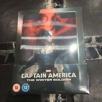 Captain America Winter Soldier 3D Blu-ray Lenticular Steelbook Zavvi Marvel NEW