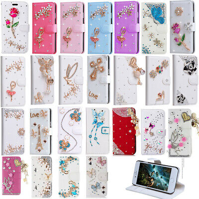 Shiny Bling PU Leather Case Wallet Style Flip Cover With Card Holder Covers