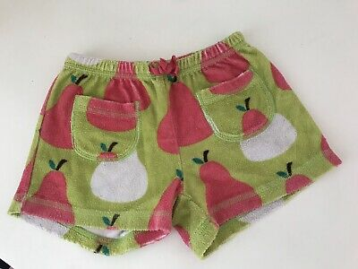 Mini Boden Girls Summer Towelling Green Pink Pear Shorts 6 Years