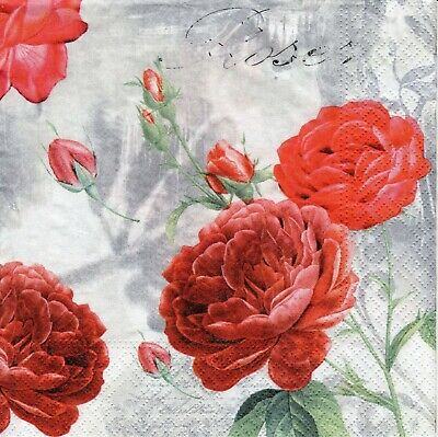 4x Designer PAPER NAPKINS for Decoupage MONOCHROMATIC ROSE  FLORAL