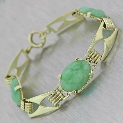 1930s Antique Art Deco Solid 14k Yellow Gold Carved Jade 5mm Bracelet