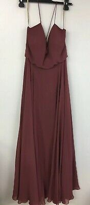 334af0cc3e1d Jenny Yoo Women's Inesse Thin Strap V Neck Long Chiffon Gown, Cinnamon Rose  4