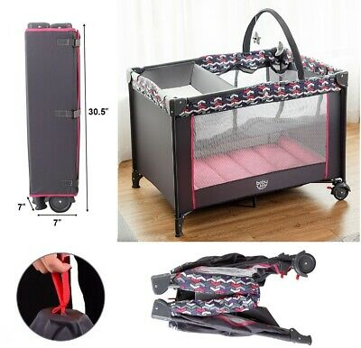 Baby Travel Cot Folding Crib Toddler Playpen With Toys Kids Portable Bed Changer