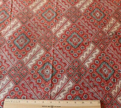 Antique c1820 French Hand Blocked Turkey Red Cotton Fabric~Medallion Design
