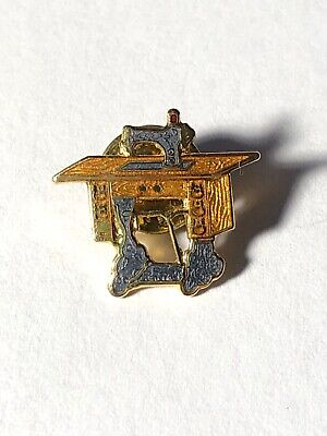 Vintage Sewing Machine Collectable Pin Gold Tiny