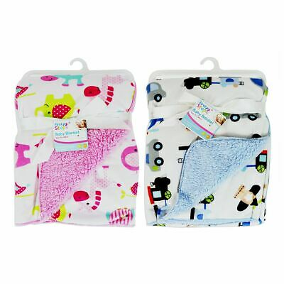 First Steps Mink Sherpa Reversible Baby Blanket FS537 Animals Vehicles 75 x 100