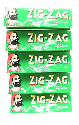 5 Packs Zig Zag Green, Finest Rolling Papers, 50 leaves per pack Nat Arabic Gum