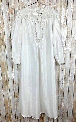 Christian Dior Neiman Marcus Lingerie Victorian Long Night Gown Ivory Vintage