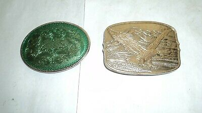 Belt Buckles 14052 With Gold Eagle on silver back ground Enamled Green