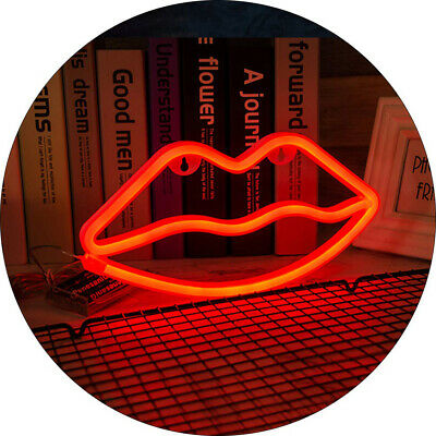 Red Lip Neon Sign USB Battery Powered LED Neon Lights Children's Home Decoration