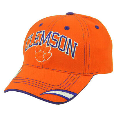 NCAA Clemson Tigers Orange Hat Cap Adjustable Headgear Curved Bill Football