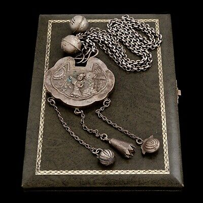 Antique Vintage Deco Sterling Silver Chinese Nature Scene Acorn Rattle Necklace