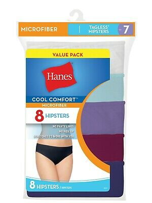 df505a3cb333 Hanes Womens Cool Comfort Microfiber Hipster Panties 8 Pack Assorted Size 6