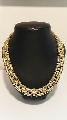 1980s Vintage Gold Plated Large Link Collar Necklace Jewellery Statement Piece.