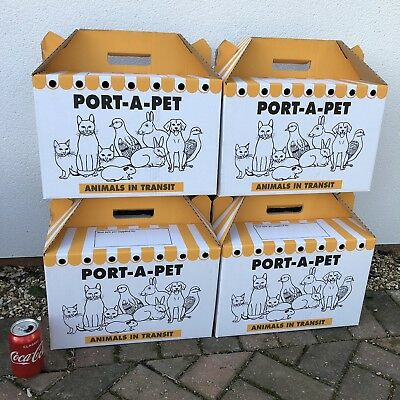 4 Cardboard Carrier Box 15x10x10 Rabbit Guinea Pig Home Vets Transport Air Holes
