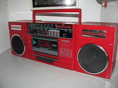 Retro Red Toshiba Boombox Stereo Portable Tape Player AM-FM Radio Recorder