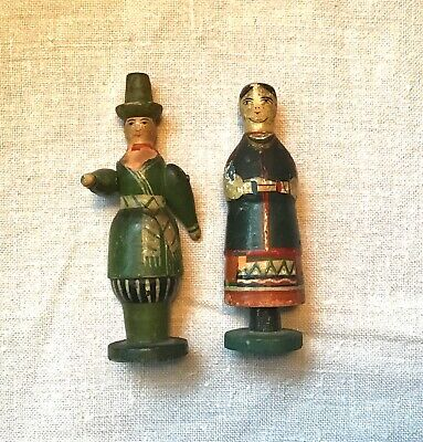 Folk Art Wood Dolls Penny Peg Primitive Ethnic Antique Carved Couple HandPainted
