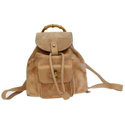 a0e964aa3903 Authentic GUCCI Logos Bamboo Mini Backpack Bag Sude Leather Beige Italy  04ER578