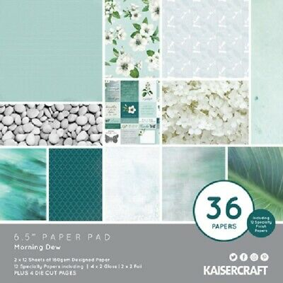 "Kaisercraft 'MORNING DEW' 6.5"" Paper Pad Floral/Flowers/Turquoise KAISER PP1069"