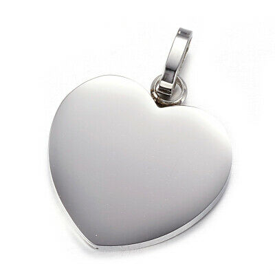 10pcs 304 Stainless Steel Heart Pendants Tag Stamping Charm Blanks w/ Bail 28mm