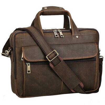 "Men's Leather 15.6""Laptop Briefcase Attache Case Shoulder Bag Travel Handbag New"
