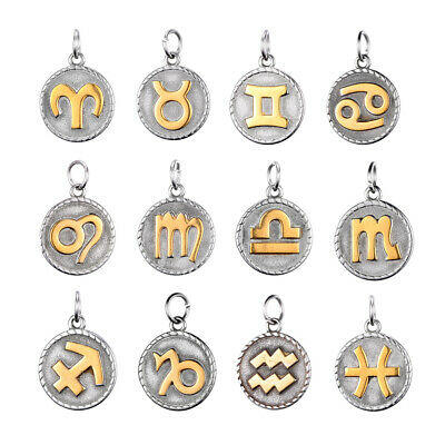 12x 316 Stainless Steel Embossed Pendants Constellation Zodiac Sign Charms 26mm