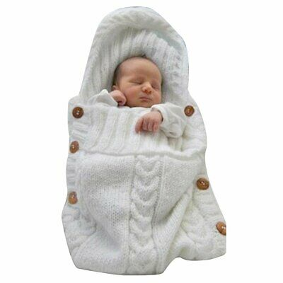 Newborn Baby Infant Knit Swaddle Wrap Swaddling Blanket Fleece Warm Sleeping Bag