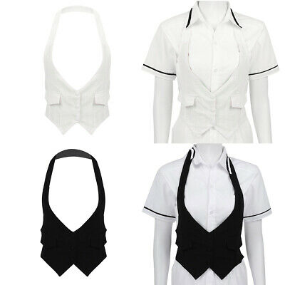 Women Solid Halter Neck Backless Vest Waistcoat Button Down Cropped Tank Top