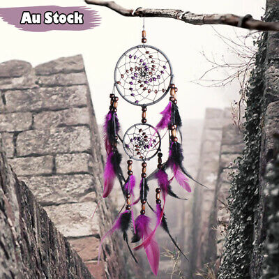 Natural Wood Beads Feather 11cm Dream Catcher Web Wall Ornament Chic Home Decor