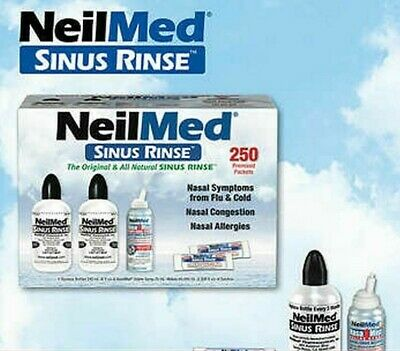 NeilMed Sinus Rinse Kit 250 Premixed Packets + 2 Bottles + NASAMIST SALINE SPRAY