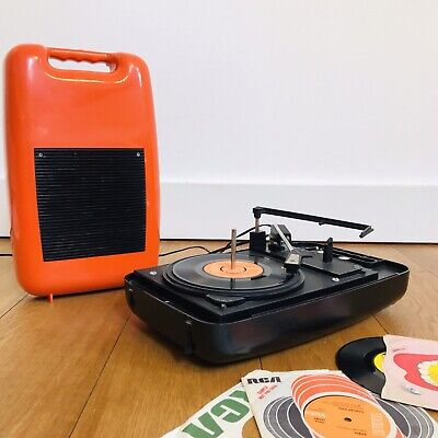 Vintage 1970's Orange Space Age Record Player Portable Retro Turntable 70s