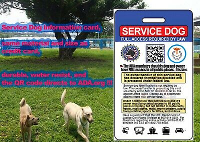Service Dog ID Card (Badge) With QR Code to ADA 2019 True Color Badge Dog