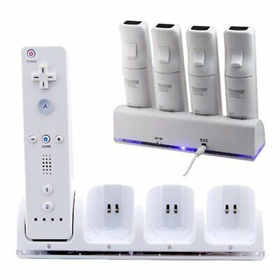4 in 1 Charger Charging Dock Station+4 Rechargeable Batteries for Wii Controller