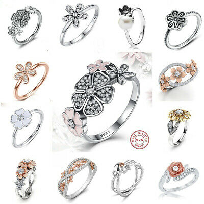 Daisy Flower 925 Silver 18k Gold Plated Wedding Jewelry Floral Ring Size 6-10