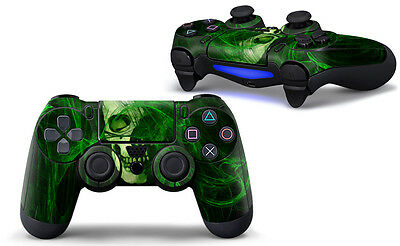 PS4 Controller Decal Sticker Skin - Green Ghost Skull - For Dualshock 4