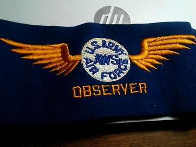 Us Army Air Force Ww2 Aerial warning services Observer 3 Color Armband by rare!!