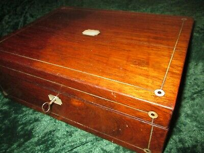 All Original Victorian Rosewood & Mother of Pearl Writing Box Slope + Key