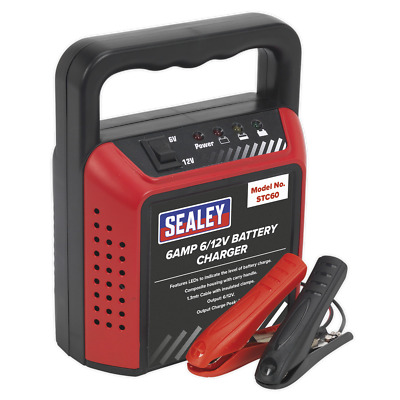 SEALEY STC60 : 6v / 12v Car / Motorcycle / Van / Mower Battery Charger - NEW