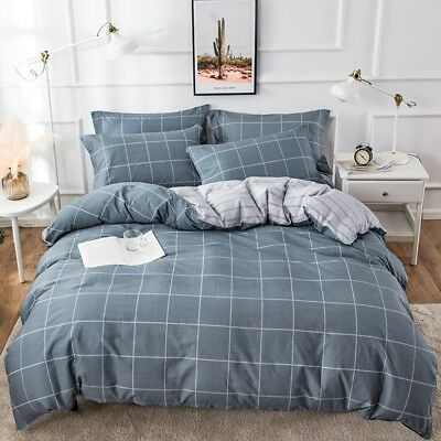 Checked Doona Duvet Quilt Cover Set Single/Double/Queen/King Size Bed Pillowcase