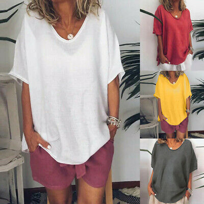 Womens Cotton Linen Baggy Tops Summer Loose Short Sleeve Casual T-Shirts Blouse