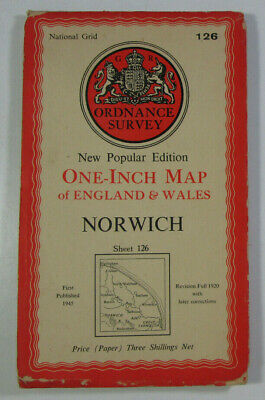 1945 Old Vintage OS Ordnance Survey New Popular Edition One-Inch Map 126 Norwich