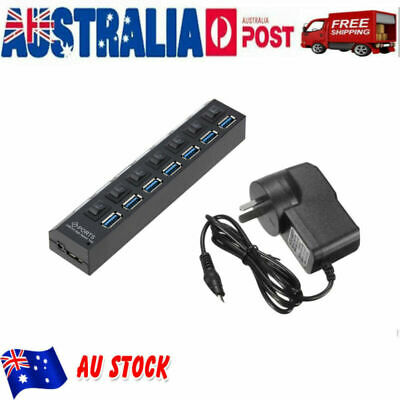 AU Plug 7 Port USB3.0 HUB Powered+AC Adapter Cable High Speed Splitter Extender