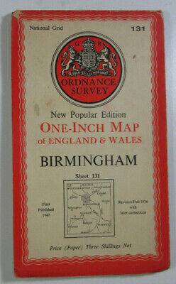 1947 Old OS Ordnance Survey New Popular Edition One-Inch Map 131 Birmingham