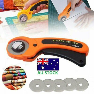 45mm Rotary Cutter With 5 Refill Blades Quilters Sewing Fabric Cutting Tools AU