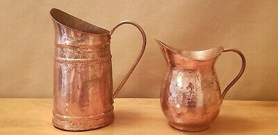 Vintage: Lot of 2, Hand Made in Turkey, Hammered, Copper Pitcher(s)