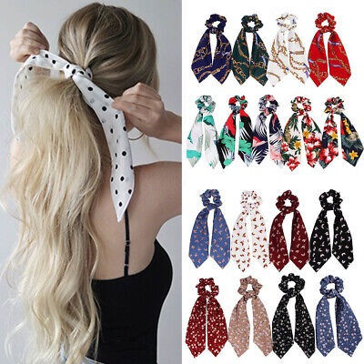 Boho Print Ponytail Scarf Bow Elastic Hair Rope Tie Scrunchies Ribbon Bands DIY