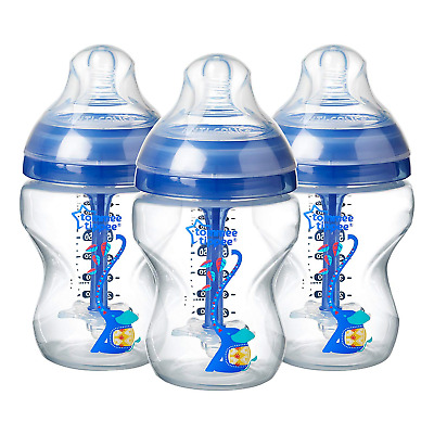 Tommee Tippee Decorated Anti-Colic Bottles, 260 ml, 3 count